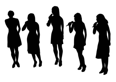 vocals: Vector drawing musical group. Silhouettes on a white background. Saved in the .