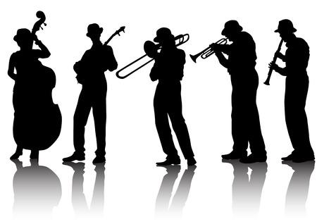 Grupo musical de dibujo vectorial. Siluetas sobre un fondo blanco. Guardados en el eps.