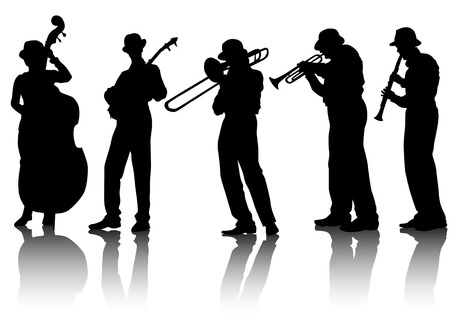 Vector drawing musical group. Silhouettes on a white background. Saved in the .