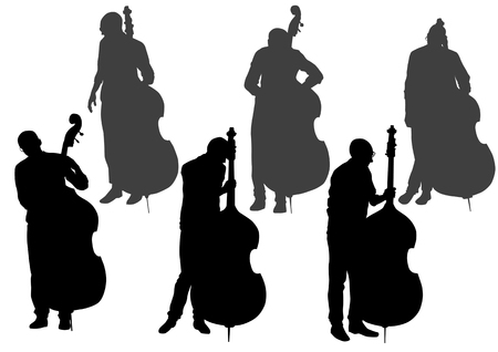 Vector drawing bass. Silhouette on white background. Saved in the . Vector