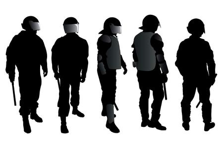 social issues: Disegno vettoriale di una forza di polizia e demonstrators.Saved in eps. Vettoriali