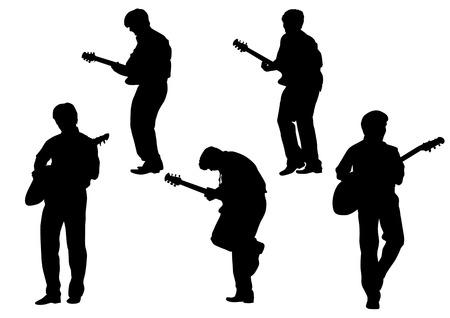 guitariste: Dessin vectoriel guitare. Silhouette sur fond blanc. Enregistr� dans l'EPS. Illustration