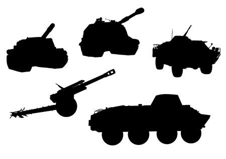 Vektor-Zeichnung von militärischer Ausrüstung, schwarze Silhouetten vor einem weißen Hintergrund. Gespeichert in der EPS
