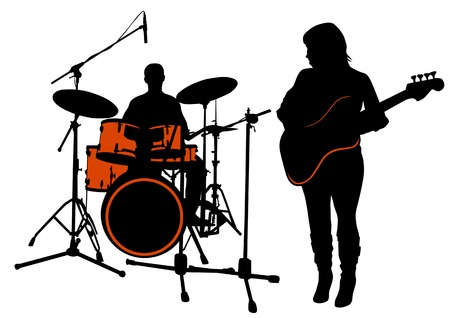 Vector drawing bass and drummer. Silhouette on white background. Saved in the .