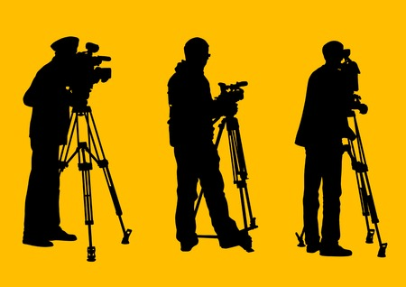 tripod: Vector graphic cameraman at work. Isolated silhouette on a yellow background. Saved in the . Illustration