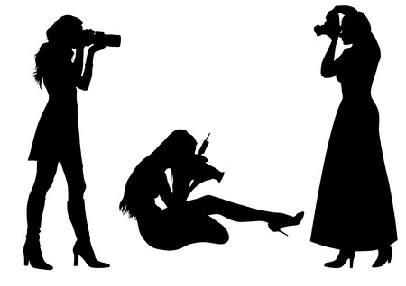 photographer: Vector graphic photographer at work. Isolated silhouette on white background. Saved in the . Illustration
