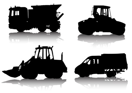 Vector drawing of construction equipment. Isolated silhouette on white background. Saved in the .