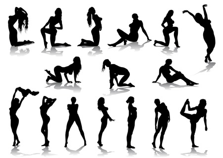 whore: Vector drawing nude girls, silhouette against a white background. Saved in format for illustrator 8.