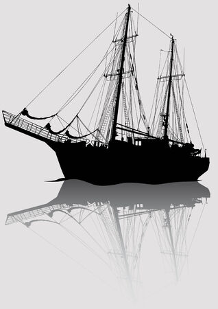 saved: Vector drawing old sailing ship. Silhouette on white background. Saved in the .