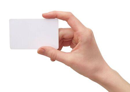 hand business card: Fotografia a colori delle mani delle donne con una carta di credito Archivio Fotografico