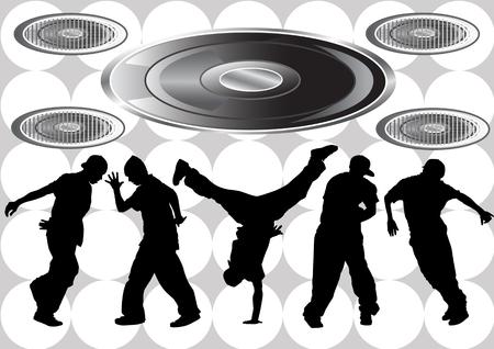 bailarines silueta: Vector de imagen de los bailarines de hip hop. Siluetas en el fondo de los instrumentos musicales