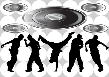 Vector image of hip hop dancers. Silhouettes on the background of musical instruments
