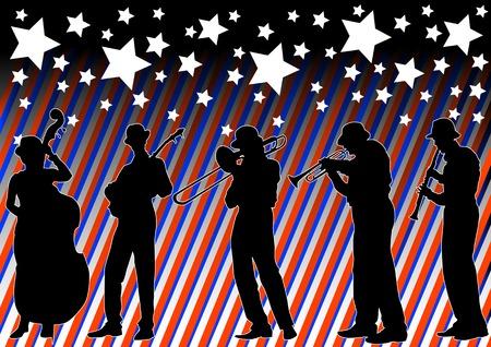 trombon: Dibujo vectorial orquesta de jazz, bajo el cielo con fuegos artificiales