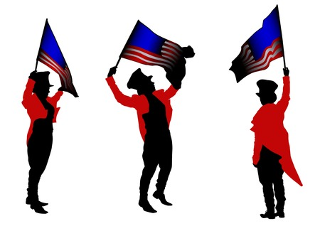 Vector drawing men in carnival suit with American flag Vector