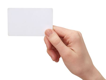 hand business card:  color images of womens hands with a credit card. isolated on a white background