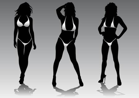 panty: Vector drawing slim and beautiful girls in bikini