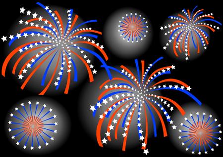 Dibujo vectorial colorido de fuegos artificiales sobre fondo de cielo oscuro Foto de archivo - 5017559