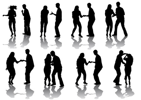Vector drawing of people dancing, isolated on a white background Vector