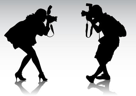 fotografi: Vector graphic sagome di persone. Uomini e donne vengono fotografati Vettoriali