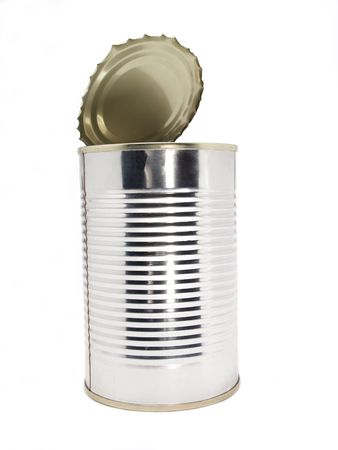 Color photo of the empty cans. An isolated object on a white background.       Stock Photo - 5074583