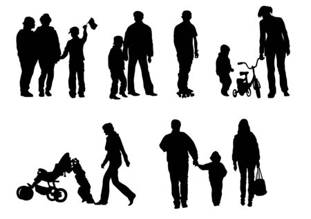 Vector drawing of children from their parents. Isolated silhouettes on white background Vector
