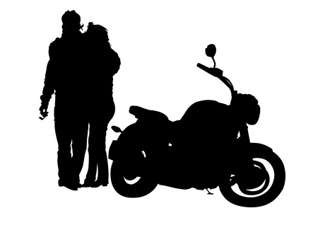 motorcyclist: Vector drawing men and women with a large number of motorcycle