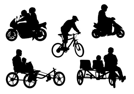 Vector image of people on motorcycles and bicycles. Silhouettes on a white background Vector