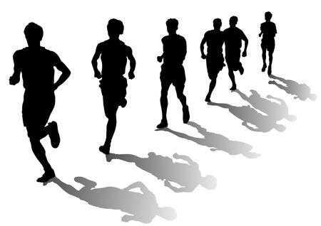 Concurso de dibujo vectorial en la carrera. Siluetas sobre un fondo blanco