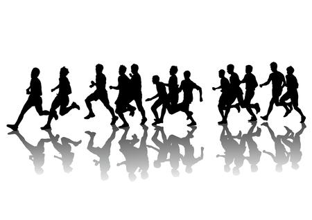 competitions: Concurso de dibujo vectorial en la carrera. Siluetas sobre un fondo blanco