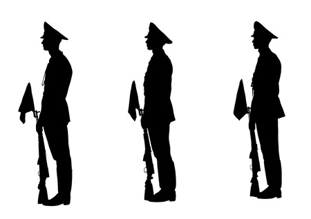 Vector drawing of soldiers during a military parade. Silhouette on white background Vector