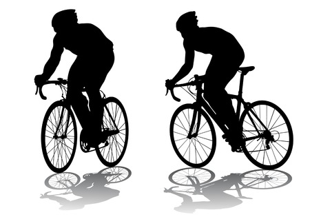 Vector graphic male on a bicycle. Silhouette on white background Vector
