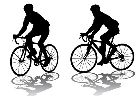 bicycle silhouette: Vector graphic male on a bicycle. Silhouette on white background Illustration