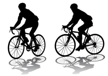 Vector graphic man op een fiets. Silhouette op witte achtergrond