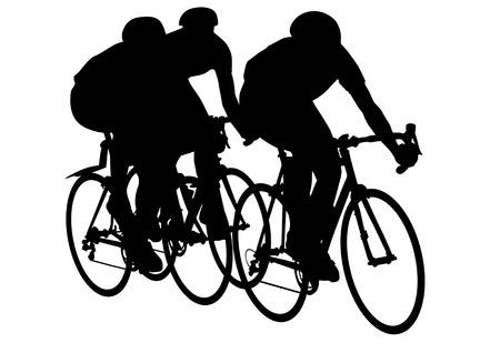 Vector graphic man op een fiets. Silhouette op witte achtergrond Vector Illustratie