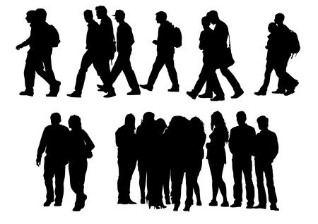 people isolated: Vector drawing people to walk. Silhouette on white background