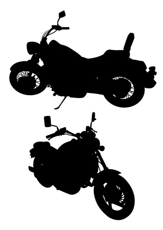 motorized bicycle: Vector drawing group motorcycle . Silhouettes on a white background. Illustration