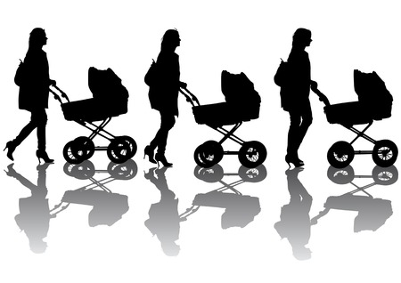 Vector drawing women with prams. Silhouette on white background Vector