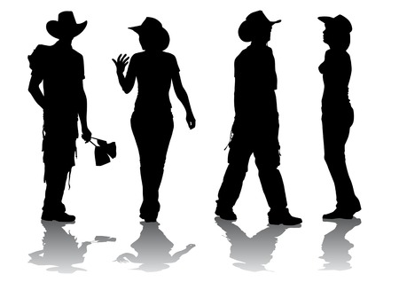 Vector drawing women and men in suits cowboys Vetores