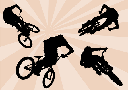 Vector image of cyclists. Extreme sport Vector