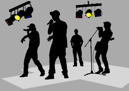 Vector drawing of musicians on stage. Black silhouettes Stock Vector - 5219784