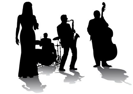 Vector drawing concert of jazz music. Silhouettes on a white background Vector