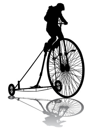 Vector graphic kids on a bicycle. Silhouette on white background