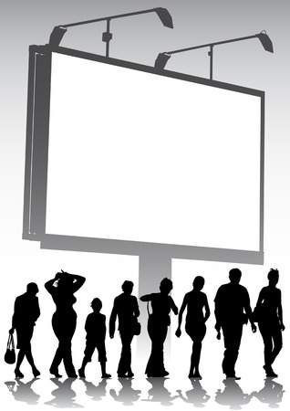 commercial sign: Vector image of an empty billboard on the background