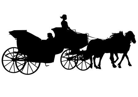 Vector drawing horses. Silhouette on white background Vector
