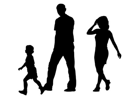 Vector drawing of parents with young children to walk Vector