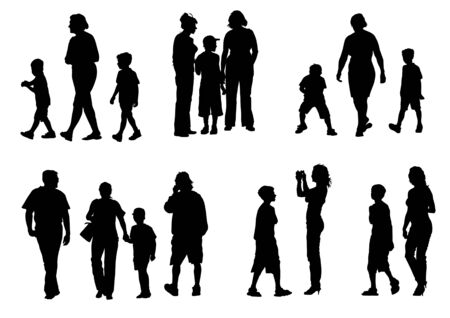 Dessin de parents avec de jeunes enfants à marcher vectoriel