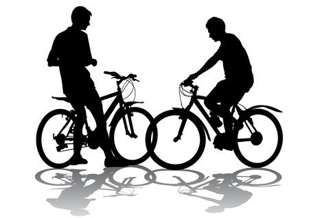 bicicleta vector: Gr�ficos vectoriales masculino en una bicicleta. Silueta en el fondo blanco