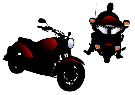 Vector drawing men to the big motorcycle. Silhouette on white background Vector