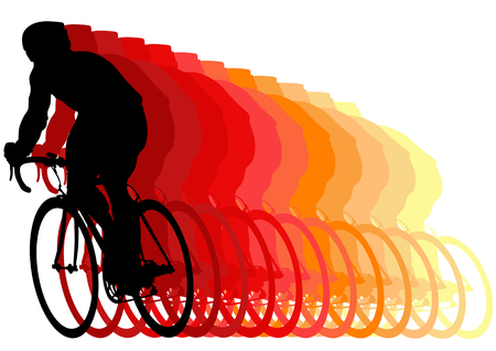 Vector drawing cyclists during races. Silhouette on white background