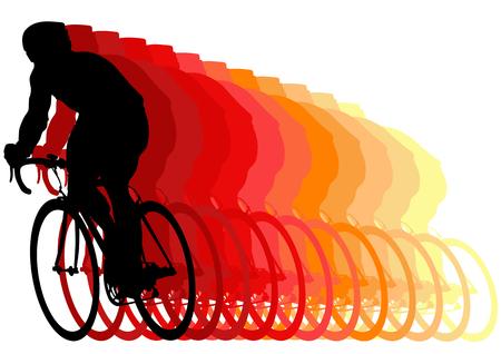 Vectortekenprogramma fietsers tijdens races. Silhouette op witte achtergrond Stockfoto - 5245458